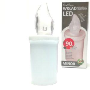 Wkład do zniczy biały elektryczny Led 90 dni świecenia